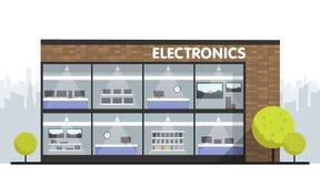 De computers en de elektronika slaan de bouw en binnenlandse, laptops mobiele telefoons en van de televisieschermen showcase en s vector illustratie