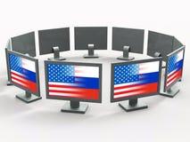 De computers met Vlaggen toont het Binnendringen in een beveiligd computersysteem 3d Illustratie royalty-vrije illustratie