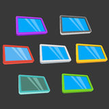 De computers van tabletpc met het lege scherm op zwarte royalty-vrije illustratie
