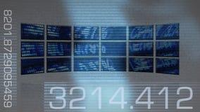 De computerschermen die effectenbeursgegevens ontwerpen royalty-vrije illustratie
