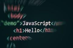 De computertaal die van de Javascriptcode Internet-het de vertoningsscherm programmeren van teksteditorcomponenten royalty-vrije stock afbeelding