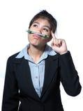 De computertablet van de bedrijfsvrouwenholding, het bedrijfsconcept denken succes stock afbeeldingen