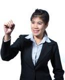 De computertablet van de bedrijfsvrouwenholding, het bedrijfsconcept schrijven royalty-vrije stock fotografie