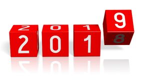 2018/2019 de conceito da mudança do ano novo - cubos vermelhos ilustração do vetor