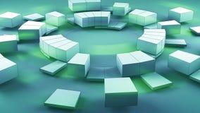 De concentrische gesegmenteerde cirkels vatten 3D samen teruggeven vector illustratie