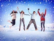 De Concepten van de de Vriendschapswinter van de Kerstmisviering Stock Fotografie