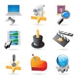 De concepten van het pictogram voor media Stock Foto