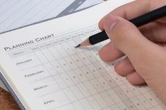 De concepten van het projectplan De lege vorm van de bedrijfs planningsgrafiek Details van de lege grafiek van het projectplan vo stock afbeelding