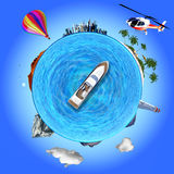 De conceptenillustratie die toont verscheidene reist bestemmingen stock illustratie