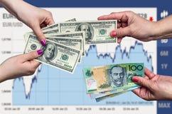 De conceptie van de gelduitwisseling op bedrijfsgrafiekachtergrond stock foto's