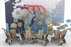 De conceptie van logistisch is in wereldhandel royalty-vrije illustratie