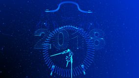 De conceptuele animatie van het nieuwjaar, camerabeweging in de ruimte tussen de symbolen van 2018 en 2019 royalty-vrije illustratie