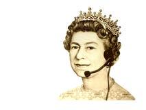 De conceptuele commerciële/klantendienst. Het hoofd van de muntKoningin van Engeland, met hoofdtelefoon royalty-vrije stock afbeelding