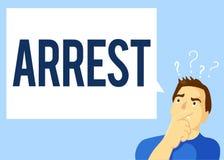 De conceptuele hand die tonend Arrestatie Bedrijfsfototekst grijpt iemand door wettelijke bevoegdheid en neemt hen in bewaring sc royalty-vrije illustratie