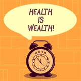 De conceptuele hand die tonend Gezondheid is Rijkdom schrijven Bedrijfsfoto demonstratie die gezond in het goede Verblijf van de  vector illustratie