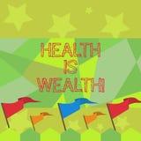 De conceptuele hand die tonend Gezondheid is Rijkdom schrijven De bedrijfsfototekst die gezond in het goede Verblijf van de vorm  stock illustratie