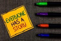 De conceptuele hand die tonend iedereen heeft een Verhaal schrijven De Achtergrond die van de bedrijfsfototekst vertellend uw Bev stock afbeeldingen