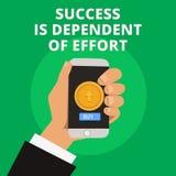 De conceptuele hand die tonend Succes is Afhankelijk van Inspanning schrijven De bedrijfsfototekst levert inspanning om Verblijf  royalty-vrije illustratie