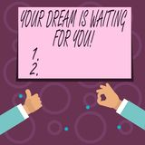 De conceptuele hand die tonend Uw Droom wacht op u schrijven Doel van de het Doel het Objectieve Bedoeling van de bedrijfsfototek royalty-vrije illustratie