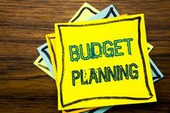 De conceptuele hand het schrijven inspiratie die van de teksttitel Begroting Planning tonen Bedrijfsconcept voor het Financiële I Royalty-vrije Stock Fotografie