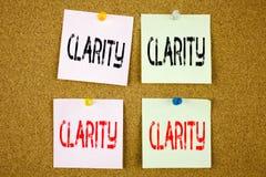 De conceptuele hand het schrijven inspiratie die van de teksttitel Duidelijkheids Bedrijfsconcepten voor de duidelijkheid Bericht stock foto