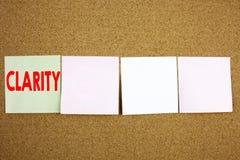 De conceptuele hand het schrijven inspiratie die van de teksttitel Duidelijkheids Bedrijfsconcepten voor de duidelijkheid Bericht royalty-vrije stock afbeelding