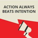 De conceptuele het schrijven tonende Actie slaat altijd Bedoeling vector illustratie