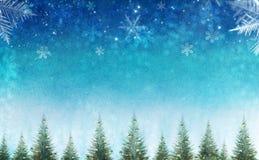 De conceptuele scène van de Kerstmiswinter met decoratieve pijnboombomen tegen sterhemel vector illustratie