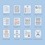 De conceptuele Web en document geplaatste pictogrammen van documentlay-outs royalty-vrije illustratie