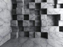 De concrete achtergrond van de de muurarchitectuur van kubussenblokken Leeg donker r Stock Foto