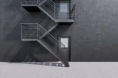 De concrete bouw met brandtrapladder stock illustratie
