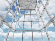 De concrete lege achtergrond van de ruimte binnenlandse architectuur Royalty-vrije Stock Afbeelding