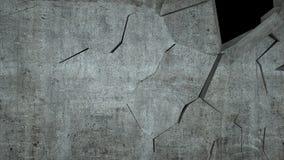 De concrete muur met vernietiging, 3 D geeft terug Stock Afbeelding