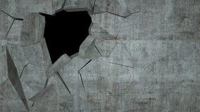 De concrete muur met vernietiging, 3 D geeft terug Royalty-vrije Stock Afbeeldingen