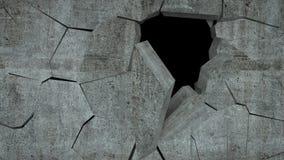 De concrete muur met vernietiging, 3 D geeft terug Royalty-vrije Stock Foto's
