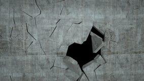 De concrete muur met vernietiging, 3 D geeft terug Stock Afbeeldingen