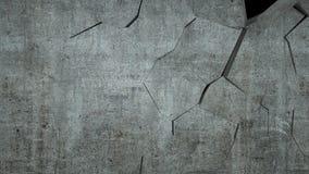De concrete muur met vernietiging, 3 D geeft terug Stock Foto