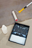 De concrete vloer van de inleiding voor het waterdicht maken Stock Afbeelding