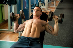 De concurrent van de Phisiquegeschiktheid werkt in gymnastiek opheffende domoren uit Royalty-vrije Stock Foto's