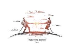 De concurrentie bedrijfsconcept Hand getrokken geïsoleerde vector stock illustratie