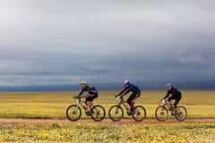 De concurrentie van de fietsandventure van de berg Stock Afbeeldingen