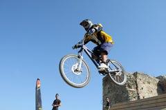 De concurrentie van fietsers stock foto's