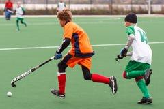 De concurrentie van het de jeugdhockey royalty-vrije stock foto's
