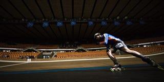 De concurrentie van Rollerskating stock afbeelding