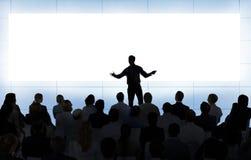 De Conferentie van het bedrijfs vergaderingsseminarie Groepswerkconcept stock afbeeldingen