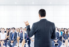 De Conferentie van het bedrijfs vergaderingsseminarie Groepswerkconcept stock foto