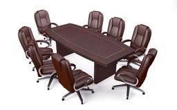 De Conferentielijst en Stoelen van het bestuurskamerbureau Stock Fotografie