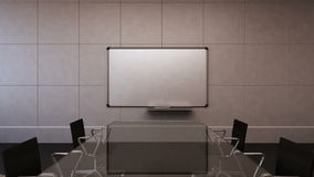 De conferentieruimte, brainstorming, voorwaartse bewegende camera, ziet uit op witte raadspresentatie Zonsondergang 3d stock videobeelden