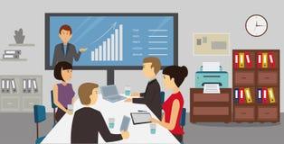 De conferentievergadering van het bedrijfsmensenweb in bureau stock illustratie