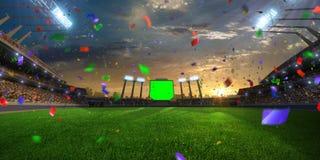 De Confettien en het klatergoud van de stadionzonsondergang met mensenventilators 3d maak illustratie bewolkt Stock Foto